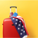 suitcase with an american flag on it
